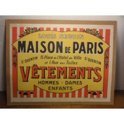 CARTON  AFFICHE MAISON DE PARIS  SAINT QUENTIN
