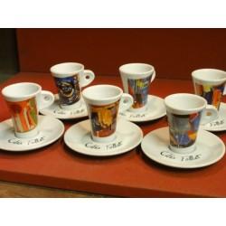 6 TASSES A CAFE FOLLIET (  6 DECORS )