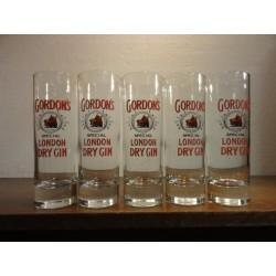 5 VERRES GORDON'S DRY GIN HT. 15CM