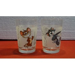 DEUX VERRES TOM AND JERRY HT 10CM