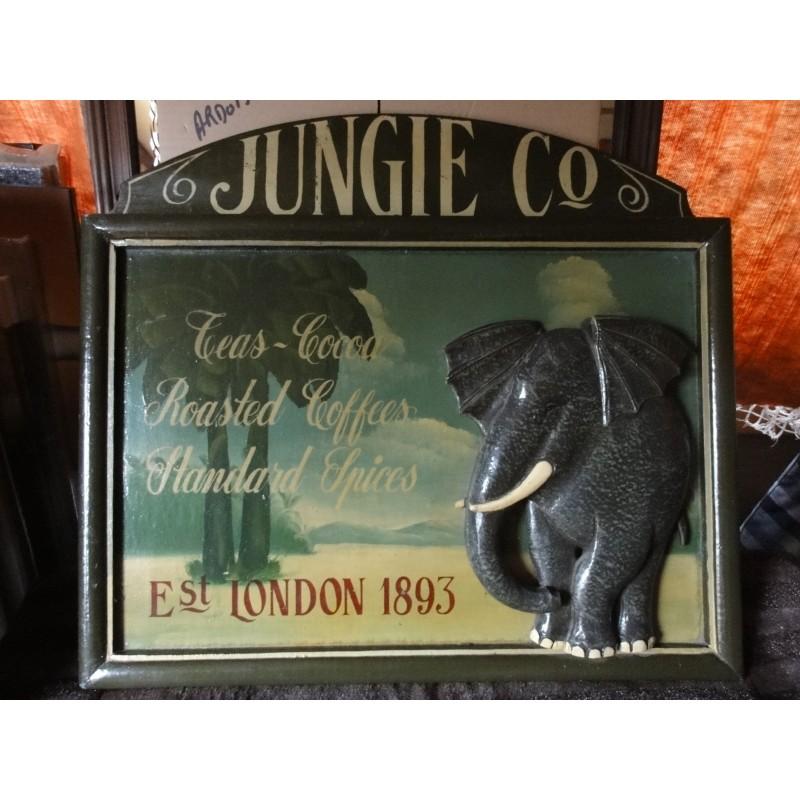 CADRE  BOIS  JUNGLE  CO  ELEPHANT 57CMX51CM