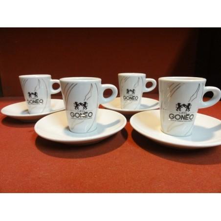 4 TASSES A CAFE GONEO +4 SOUS TASSES