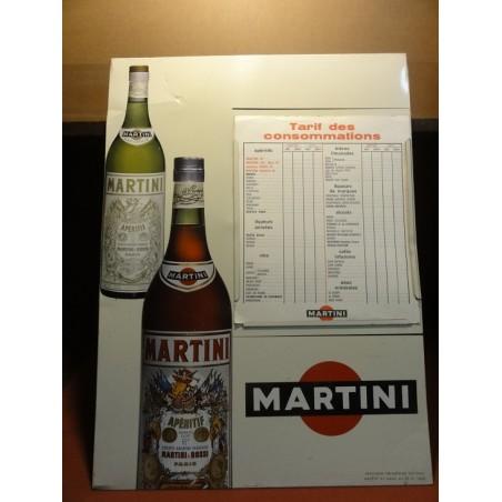 TOLE MARTINI  TARIF DES CONSOMMATIONS 49CM X36.50CM